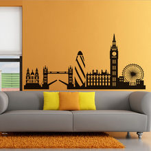 High Quality City Building Home Decor London Skyline Wall Sticker Big Ben Landmark Self Adhesive Vinyl Mural Decal(China)