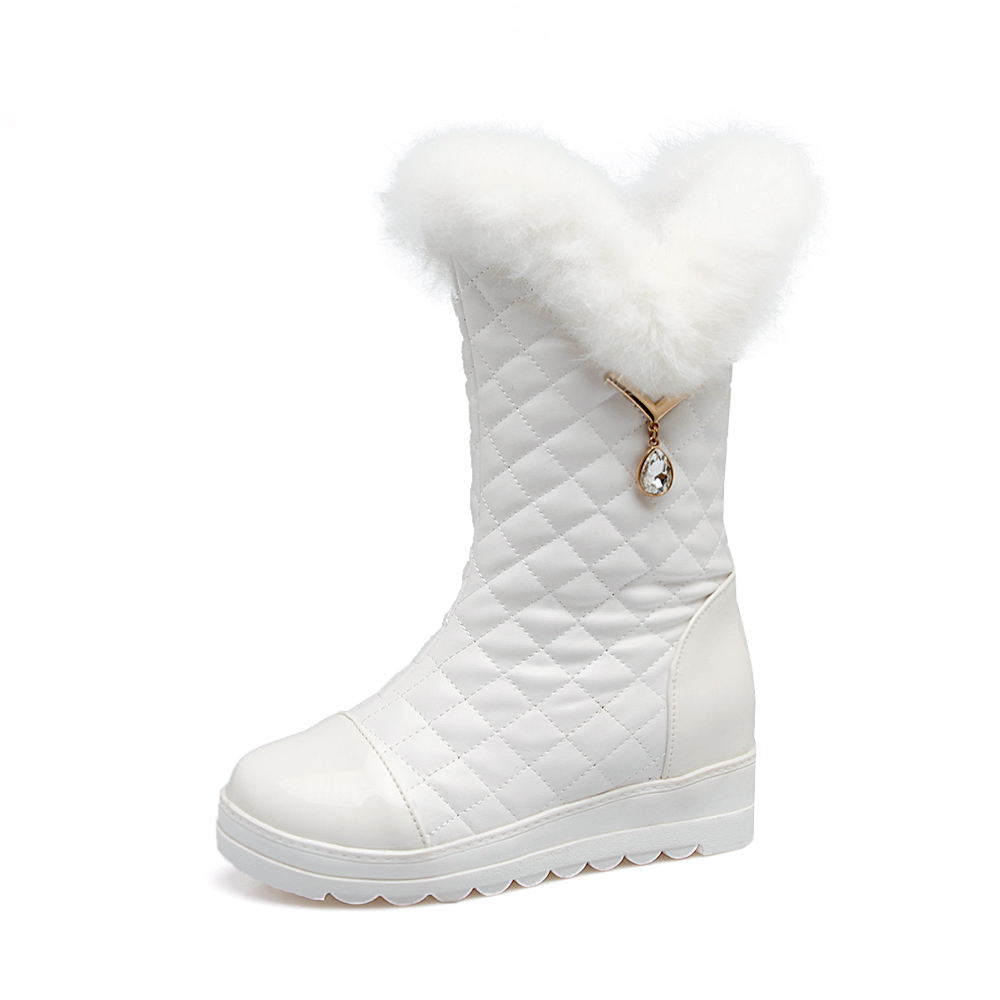QZYERAI 2018 New Style Autumn and Winter Middle Tube Snow Boots Flat Shoes Rabbit Hair Thermal Boots Size 34-43
