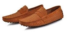 EUR38-45 Тканые Кожа SLIP-ON пенни Loafer мужчины Бизнес вождения автомобиля обувь 6 цвета