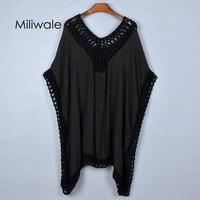 2015 Summer Autumn Big Size Long Style Batwing Sleeve Pullover Casual Cotton Linen Patchwork Women Shirt