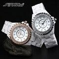 Chegada nova Marca SINOBI 3ATM WR 100% Cerâmica Senhoras Relógio de Pulso de Cristal Pedra Mulheres Relógio de Cerâmica