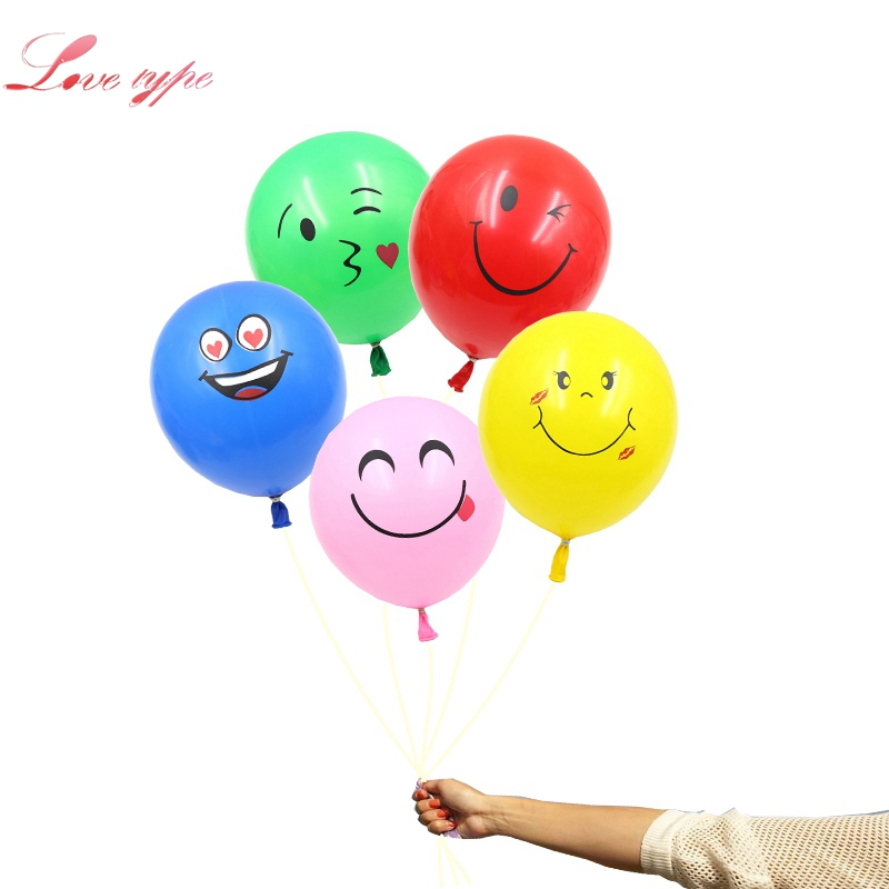 20PCS/Lot 12inch Multicolor/Yellow Emoji Face Expression Latex Balloons For Wedding Birthday Party Decoration Kids Toy Supplies
