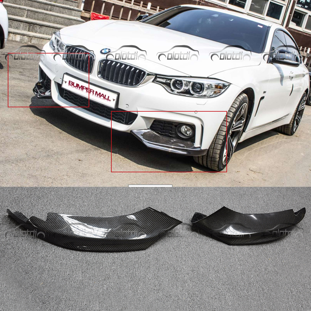 car styling Carbon Fiber Auto Front Lip Splitter Flaps for BMW 4 Series F32 F33 435i M Sport Coupe Convertible 2-Door 2014-2016 carbon fiber auto front lip splitter flags for bmw 4 series f32 f33 435i m sport coupe & convertible 2 door 2014 2016 page 1