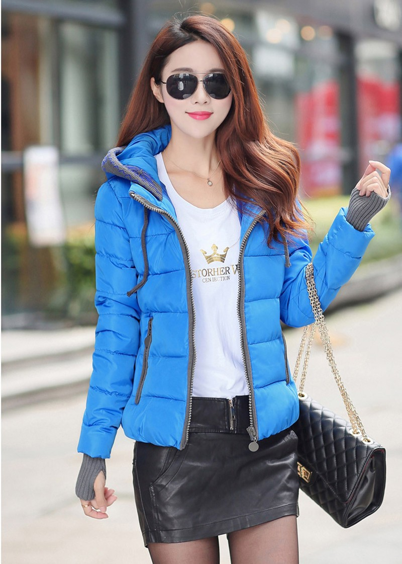 Women Winter Coat Long Sleeve Print Floral Hooded Slim Winter Parka Plus Size Cotton-Padded Jackets 2XL (4)