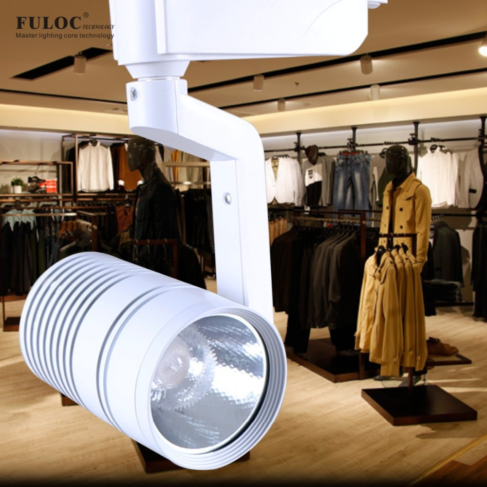 FULOC COB 10W 15W 20W 25W Led Track light aluminum Ceiling Spot Rail Spotlights