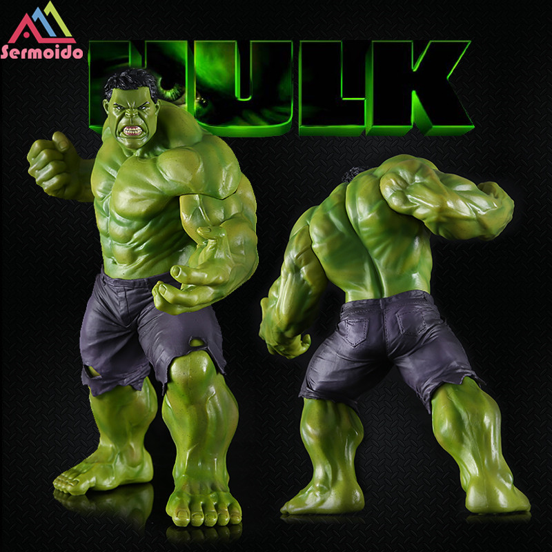 sermoido New 25cm Big Marvel Avengers Hulk Action Figure Collectable Model Muscle Man Superman Crazy Toy Top Grade Gift E20 marvel select avengers hulk pvc action figure collectible model toy 10 25cm