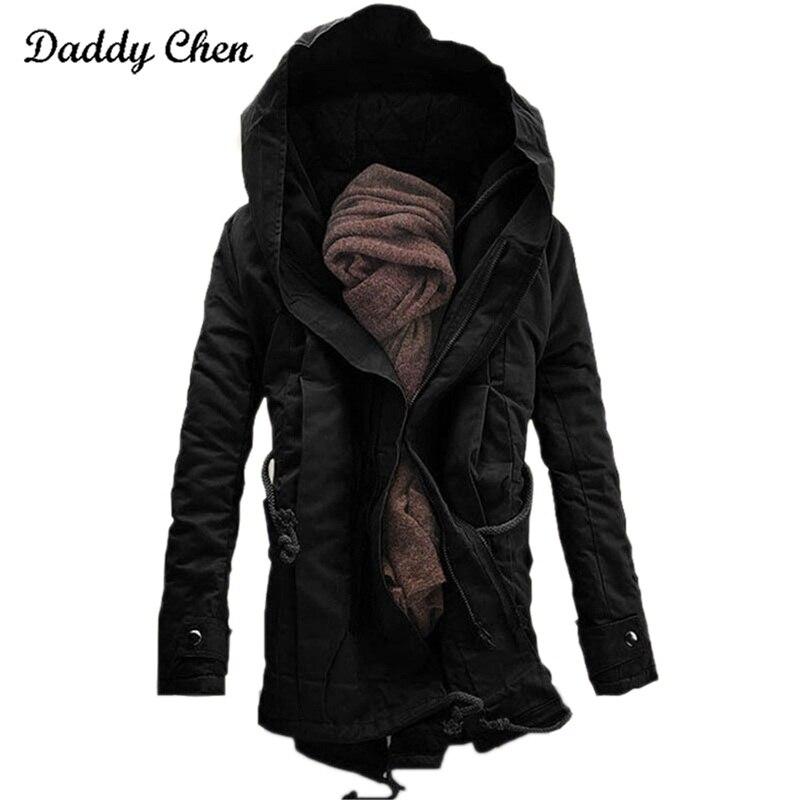 2017 marke Mode winter Parka für männer Dicke Warme zipper Jacke Herbst Oberbekleidung mit kapuze Schwarz militär Mantel herren lange jacken