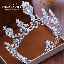 HIMSTORY Oversize European Queen  Tiaras Crown Noble Shinny Rhinestone Diadem Wedding Hair Accessories
