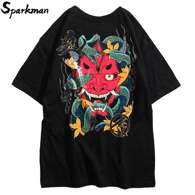 2019 Harajuku Tshirt Hip Hop Men Ghost Snake T-shirt Streetwear Summer T Shirt Cotton Short Sleeve Tops Tees Big Print Hipster