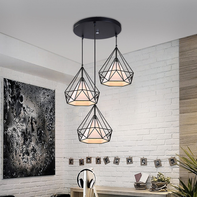 artistic diamond shape metal pendant lamp creative retro iron hanging fixture light for dining. Black Bedroom Furniture Sets. Home Design Ideas