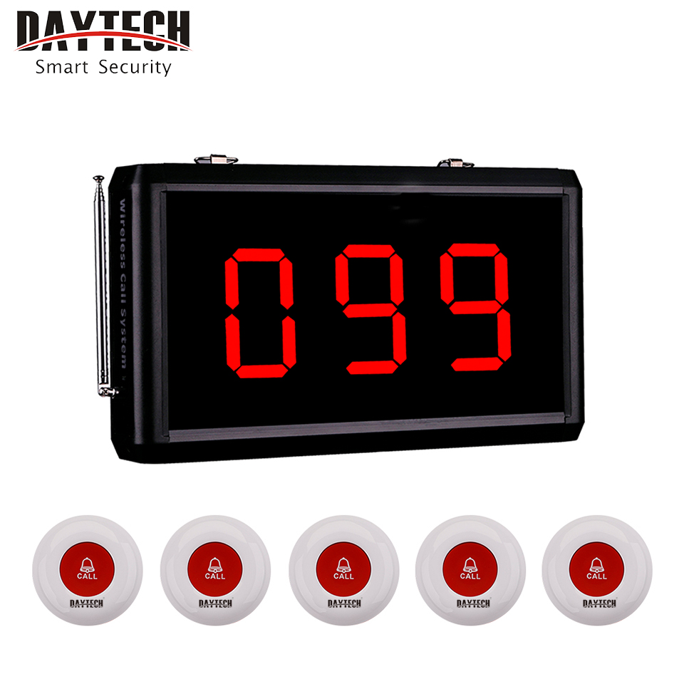 DAYTECH Wireless Restaurant Service Calling System Coaster Pager Calling System for Hospital/Restaurant/Cafe/Store Help Calling wireless service calling system paging system for hospital welfare center 1 table button and 1 pc of wrist watch receiver