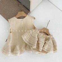 ベビー服の幼児服セットファッションニューキッズガールズノースリーブシャツ + ショートパンツ2個のスーツ女の赤ちゃんかわいいパーティー服