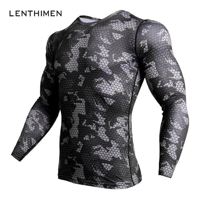 Kompresi baru Kemeja Pria Busana Kamuflase Lengan Panjang T Shirt pria Gyms Crossfit Kebugaran Top 3D T Shirt MMA Rashguard T-Shirt