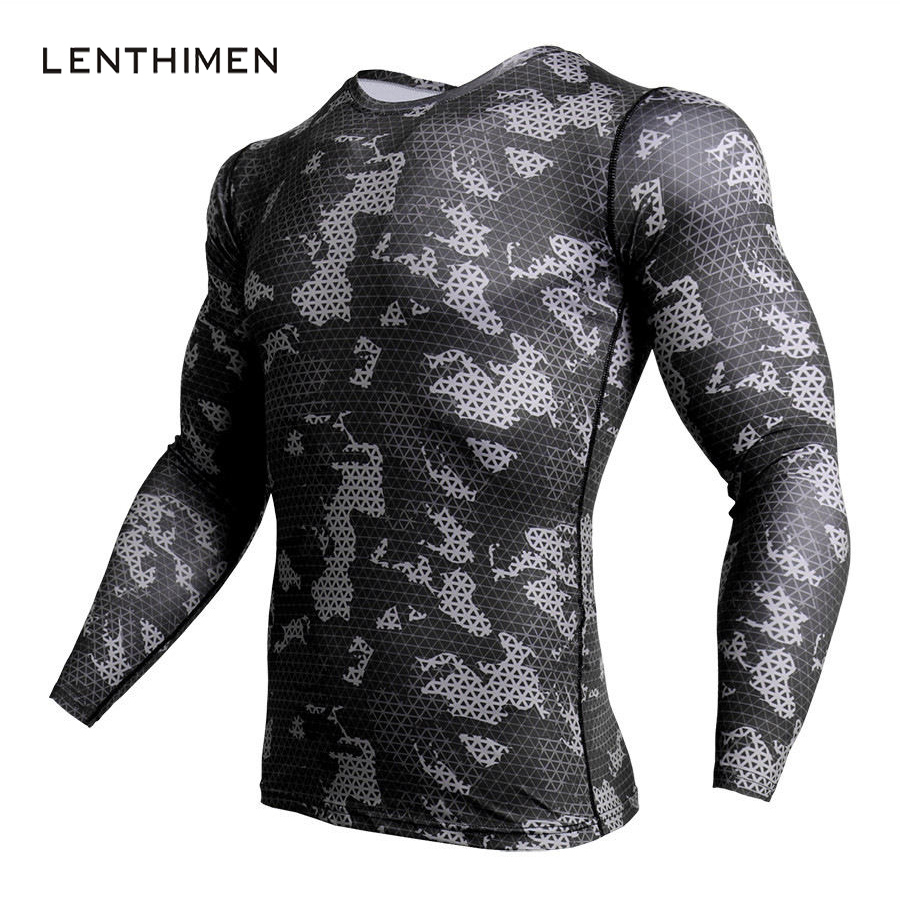 New Compression Shirt Men Fashion Camouflage Long Sleeve T Shirt Men Crossfit Top Fitness 3D T Shirts MMA Rashguard Gyms T-Shirt