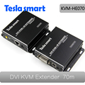 Real HDBaseT 70m 4Kx2K IR Remote USB KVM DVI Extender by CAT5e/6 with One DVI USB KVM Dedicated Cable(one Extender TX+one RX)