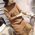 2016 горячей продажи студент девушки весна осень с длинным рукавом кружева лоскутная пуловер свитера женщин вязать шею свитер платья