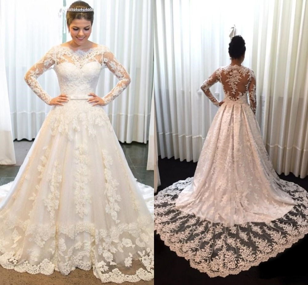 Illusion Wedding Dresses 2019 Long Sleeve Back Wedding Gown Plus Size robe de mariee Bridal Wedding Party Dress vestido de noiva
