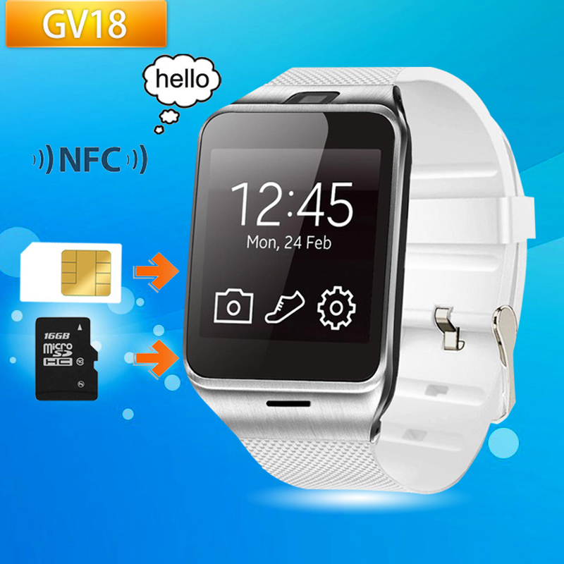 Original NFC GV18 bluetooth Wrist Watch with camera android smart watch support SIM smartwatch for Android Smart Phone