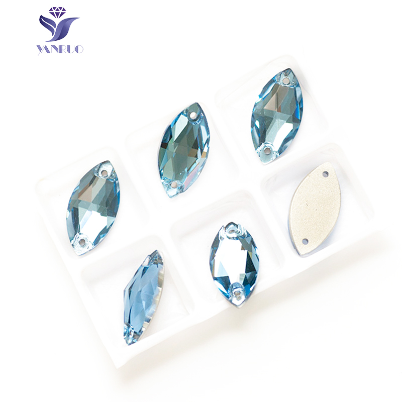 YANRUO 3223 Navette Aquamarine Stones And Crystals Glass Sew Clothes Dress Sew On Horse Eyes Sewing Stones For Clothes
