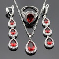 Water Drop Red Created Garnet White CZ Silver Color Jewelry Sets  For Women Earrings/Rings /Necklace/Pendant Free Gift Box