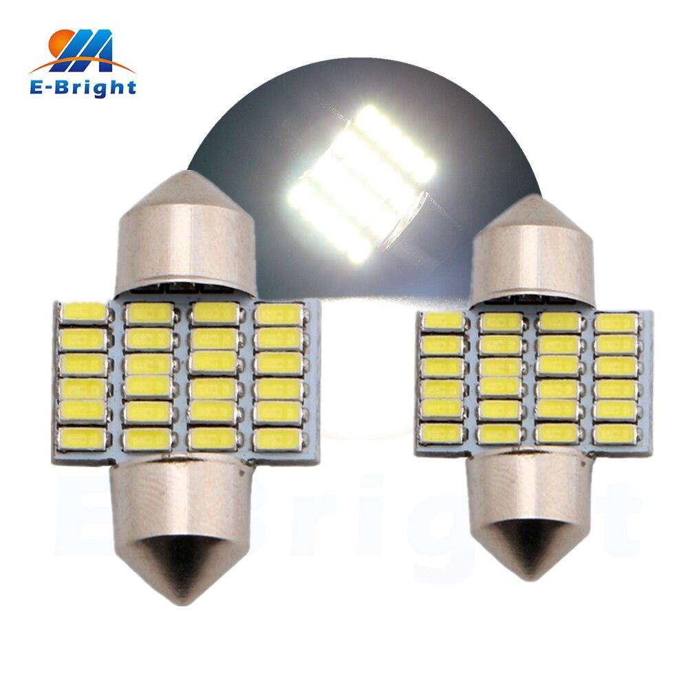 10pcs/lot 28mm 31mm 12V 3014 24 SMD Festoon Lamp Car LED Light Auto Dome Bulbs for All Cars Pate Number Light Reading light