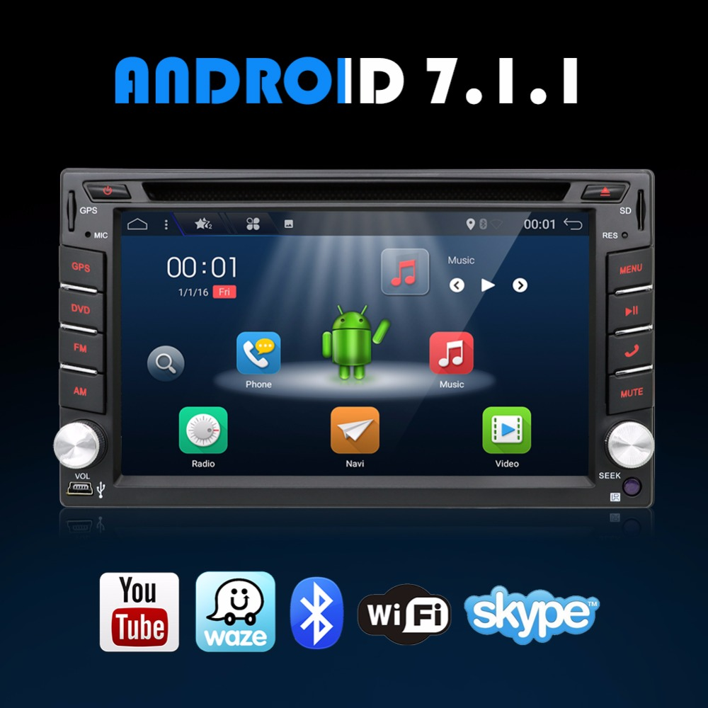 2G 32G Android 7.1 Car DVD Stereo 1.2GHZ Quad 4 Core Capacitive Double 2 Din Car PC CD GPS BT WiFi 3G CAMERA DVR Radio Parking