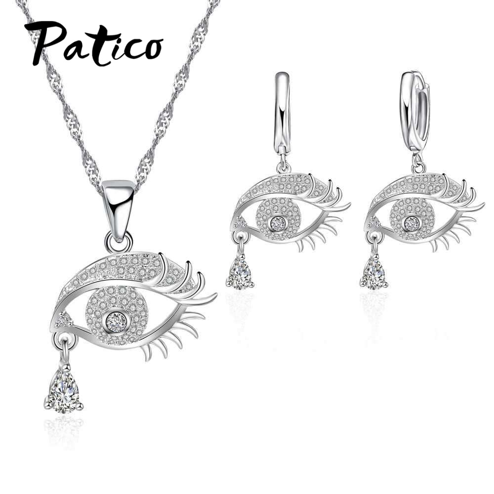 PATICO High Quality Necklace Earrings Set Eye Expression Modeling Celebrate Party Birthday Present 925 Sterling Silver for Women