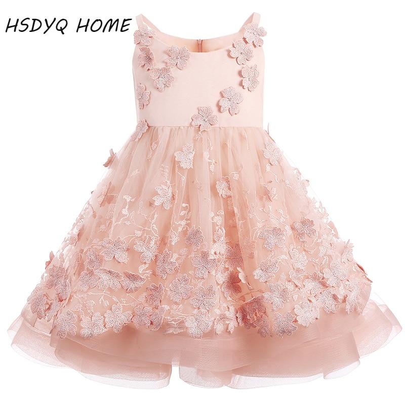 New arrival   Flower     Girl     Dresses   Appliques Princess Lace 3D   Flower   Ruffles   Girls   party   Dresses   2017