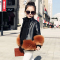 Baby girl faux Leather coat for girls Winter Coats and Jackets PU Children Outerwear girls down coat black pink pu jacket 2016