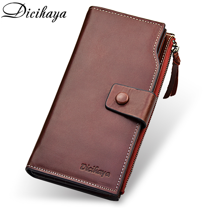 DICIHAYA Luxury Brand Genuine Leather Women Wallet Long Solid Zipper Wallet Red Money Bag Coin Purse Female Credit Card Holder luxury long genuine leather wallet women bag crocodile pattern women s wallets cowhide bank credit card holder purse coin purse