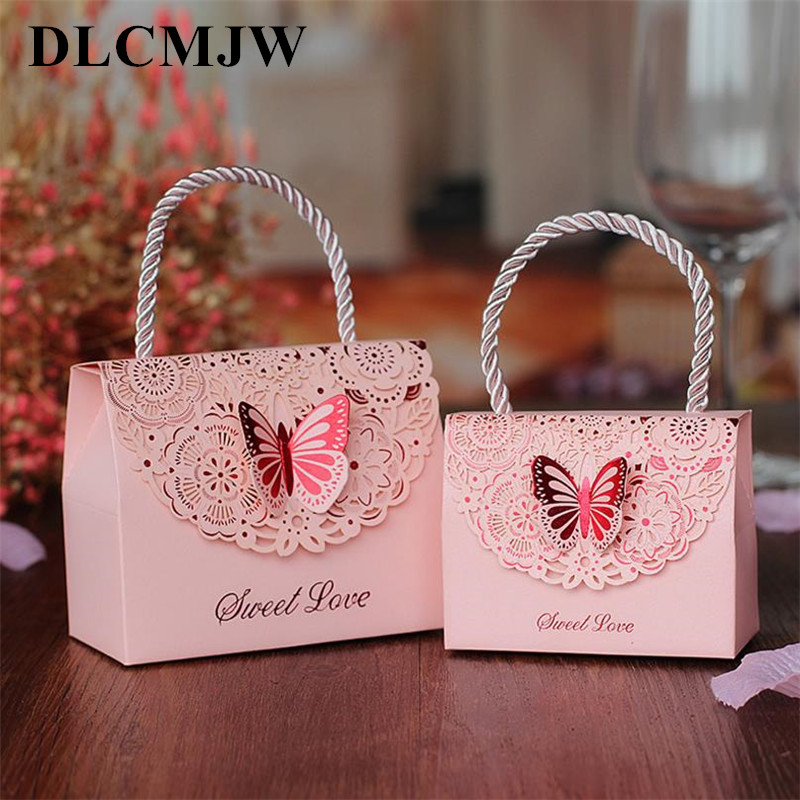 10 pcs/lot Wedding candy box creative hollow carved fold butterfly wedding gift Chinese exquisite