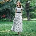 2016 Summer New Fashion Women's Ultra Long Patchwork Chiffon Dress Elegant Ladies Gauze Embroidery Maxi Dresses Short Sleeve
