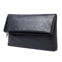 Top Sale 1x black large men casual business PU leather folding zipper hand bag hand bag size: about 31 * 21 * 3cm