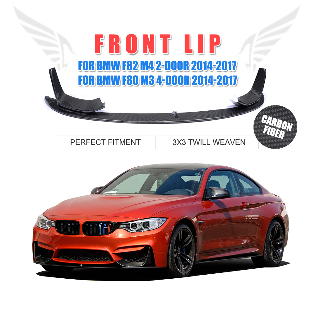 3PCS/Set Carbon fiber Racing Front Lip Splitter Cover Trim P Style for BMW F82 M4 F80 M3 2014-2017 Car Styling