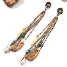 Vintage Ethnic Style Long Tassel Earrings Bohemian Jewelry Shell Ox Horn Charm Drop Earring Handmade Boho Earings