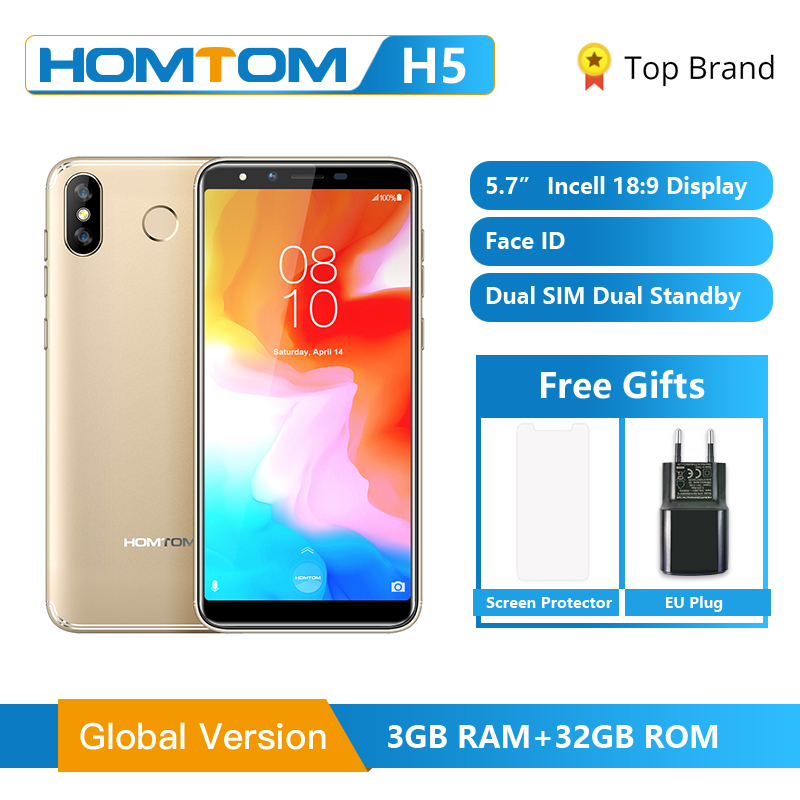 HOMTOM H5 3GB 32GB Mobile Phone 3300mAh Fast Charge Android8.1 5.7