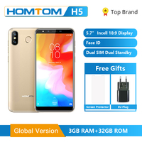 HOMTOM H5 3GB 32GB Mobile Phone 3300mAh Fast Charge Android8.1 5.7 Face ID 13MP Camera MT6739 Quad Core 4G FDD LTE Smartphone