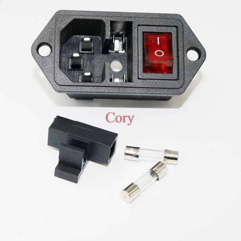 1 قطعة AC الطاقة مقبس AC-09 ثلاثة في واحد التبديل مع الصمامات مقعد AC مأخذ كهربائي 4 دبوس التبديل مع ضوء 10A CZYC