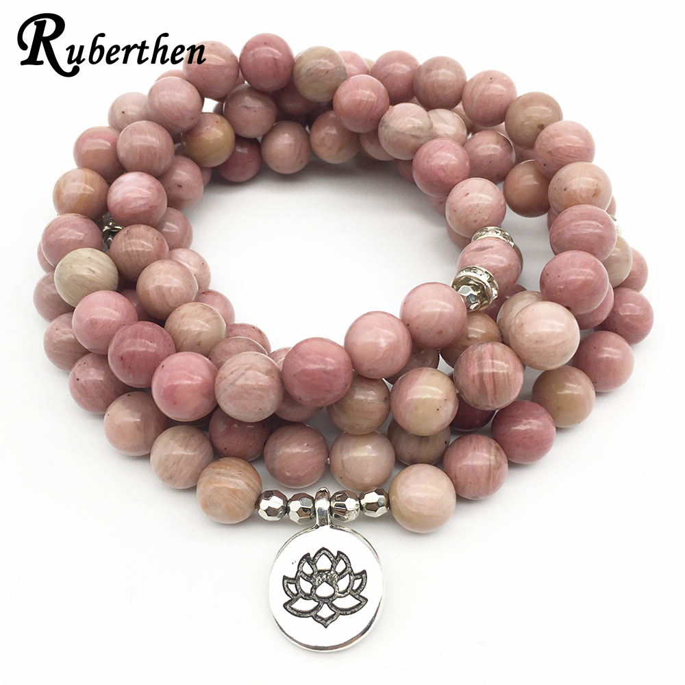 Ruberthen On Sale New Women`s Yoga Bracelet 108 Mala Rhodonite Balance Bracelet Simple Design Healing Spiritual Gift