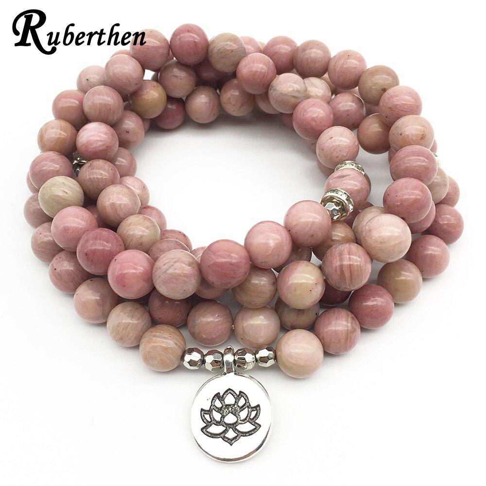 Ruberthen en venta nuevo de las mujeres Yoga 108 Mala Rhodonite Balance pulsera diseño Simple curación regalo espiritual