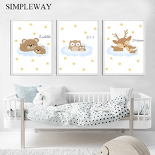 Cartoon Woodland Animal Canvas Poster Nursery Wall Art Print Painting Nordic Kids Decoration Picture Baby Bedroom Decor