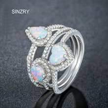 SINZRY luxury jewelry New Cubic zirconia imitation australia opal rings exaggerated heart finger rings for women