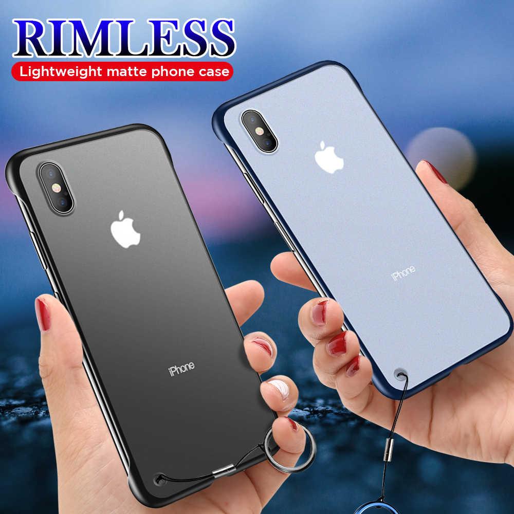 עבור iPhone 7 8 בתוספת 6 6S X 10 דק במיוחד ללא שפה ללא שוליים טלפון Case כיסוי עבור iPhone X Xs מקסימום 6 6S בתוספת טלפון מקרה עם חבל