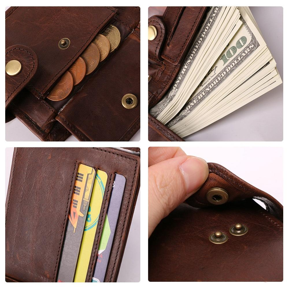 Image 5 - GENODERN New Arrival Vintage RFID Men Wallets Hasp Functional Trifold Wallet for Men Large Capacity Male PurseWallets   -