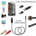 2 M Cabo de 5.5mm 6 Led IP67 Impermeável Endoscópio Usb OTG Android Cobra Tubo Tubo 5 cm 480 P Vigilância Mini Câmera de Inspeção