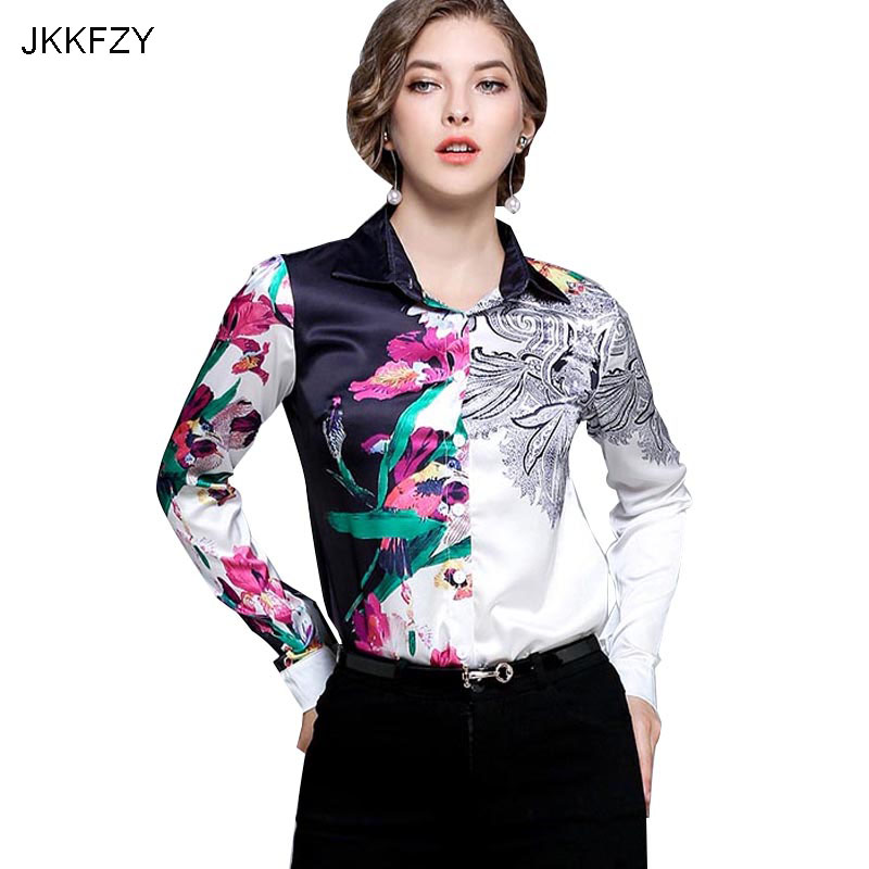 JKKFZY New Arrivals High Quality Runway Blouse Women Fashion Designer Turn Down Collar Top Shirt  Flora Print Blouse Office top