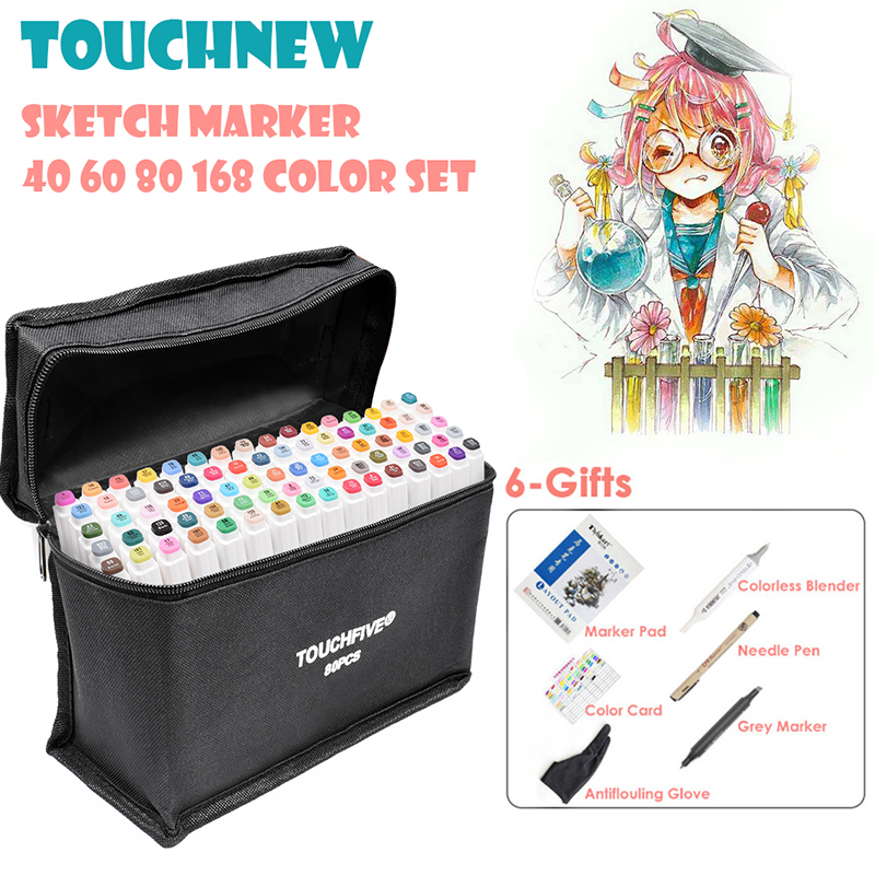 TOUCHFIVE 40/60/80/168 Color Art Markers Sketch Drawing Marker Pens Set Alcohol Based Twin Tips Anime Art Supplies With 6 Gifts