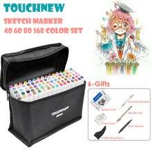 TOUCHFIVE 40/80/168 цветные маркеры для рисования, набор маркеров для рисования на спиртовой основе, Двойные наконечники, художественные принадлежности в стиле аниме с 6 подарками
