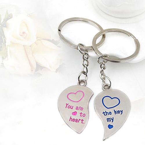 1 Pair Lover Couple Love Heart Key Ring Keychain Keyfob Wedding Gift Keyring