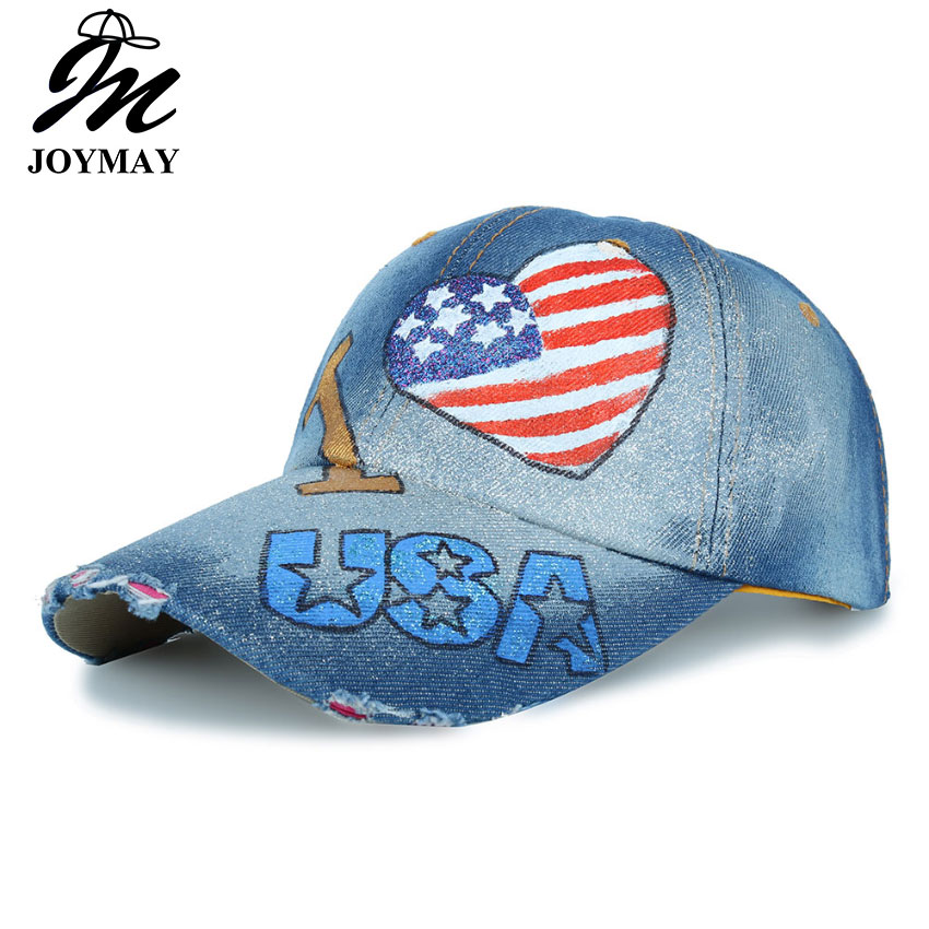 506ae1bf JOYMAY New Arrival love USA flag Painting Jean Baseball Cap Adjustable Hip